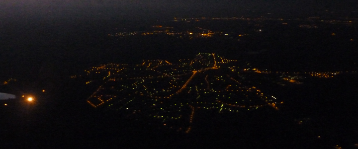 Bordeaux de nuit, vue d'avion, Birtish Airways, Bordeaux > Londres