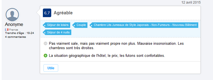 commentaire venant de booking.com