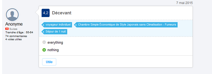 commentaire sur le site booking.com